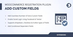 """The WooCommerce User Registration Extension lets you collect extra information from your customers by adding custom fields to your registration form. Add dropdowns, multi-select options, checkboxes, file uploads, dates, and more. Display the fields on """"My Account"""" page, and make them either required or optional. You can also add a """"user roles"""" dropdown menu to registration forms to let the customers select an appropriate role during registration — you can choose to display all or just specific user roles in the dropdown. Auto-approve new user registrations, or do it manually, which is particularly handy if you need to validate B2B customers before allowing them to log in and place orders. Tag fields with specific user roles and show them only when a customer selects a specific role from dropdown."""