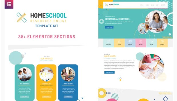 Home School Template Kit contains a collection of over 35 visual layouts that are compatible with your Elementor page builder. The Kit features a green, pink, blue and yellow color scheme with circles and abstract graphics. Each of these pre-made templates are fully customizable in the editor. You change the photos & font to make it your own.