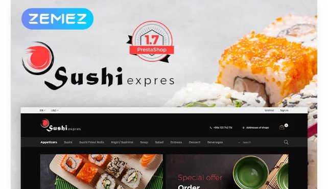 SushiExpress is a responsive, SEO friendly PrestaShop theme developed for Sushi oriented restaurants and takeaway food stores. Big, eye-catching pictures make clients feel hungry and arouse the desire to order food at your store directly. Moreover, the theme comes with a load of features that will increase your store's potential and make it super easy to browse your inventory. TEMPLATEMONSTER MARKETPLACE TemplateMonster is a marketplace where you as a designer or developer may sell your Web Design Software, Website Templates, Design Elements, Plugins and Extensions. Become a digital products vendor and earn up to 70% from each sale. This is Food & Restaurant Magazine PrestaShop theme with Sample Data Installer What is it? Sample Data Installer is a component that adds a certain amount of files stocking live demo data. Why is it Good? As you obtain a ready-made web theme that matches your current brand style and private expectations in full, by means of the sample data installer you may get the chosen layout put into your web-site right away. Click for more Sample Data Installer PrestaShop templates here
