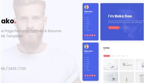 Bako-Personal-Portfolio-Resume-HTML-Template-Nulled-Download