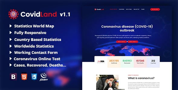 CovidLand-COVID-19-Corona-Virus-Medical-Prevention-Template-Nulled-Download