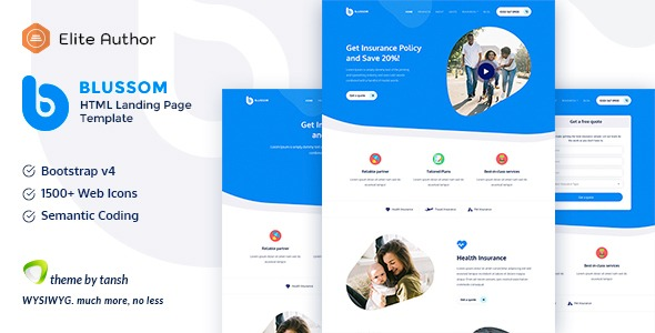Blussom-Insurance-Service-Landing-Page-Template-Nulled-download
