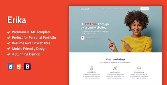 Erika-HTML-Template-For-Online-Portfolio-CV-And-Resume-Websites-Nulled-Download