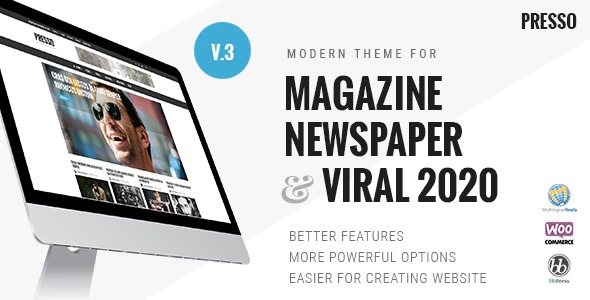PRESSO-Modern-Magazine-Newspaper-Viral Theme-Nulled-Download-GPL