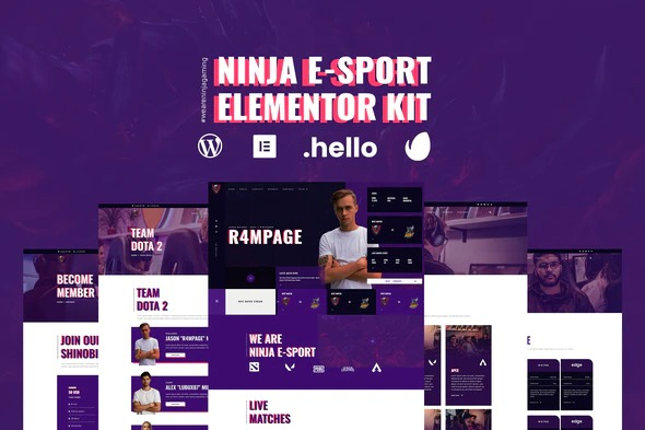 ninja-esports-gaming-elementor-template-kit-Nulled-Download
