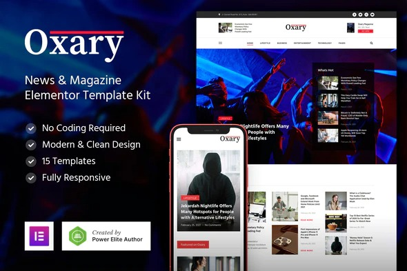 Oxary-News-Magazine-Elementor-Template-Kit-Nulled-Download